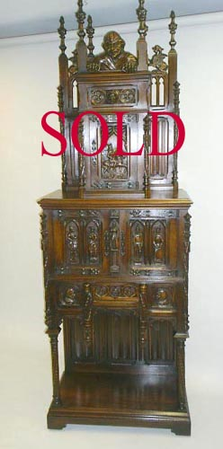 french antique Gothic Cabinet with Knights sold