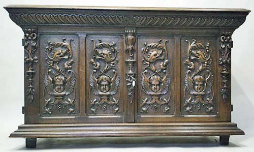 french antique cabinet with putti and dolphins