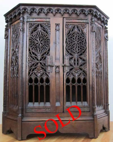 French Gothic Cabinet With Intricate Tracery