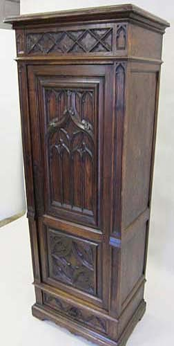 antique french gothic cabinet or half armoire. Black Bedroom Furniture Sets. Home Design Ideas
