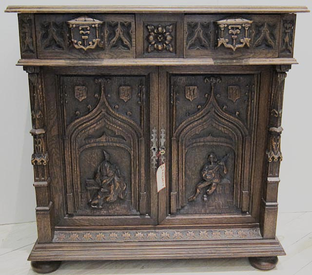 troubador theme antique cabinet