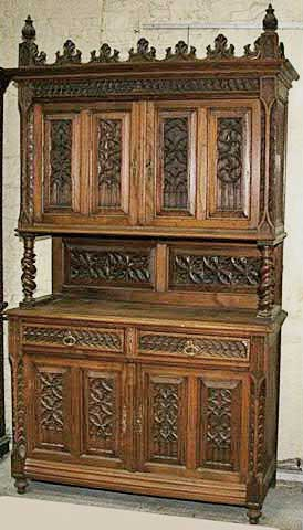 french antique cabinet gothic style chestnut