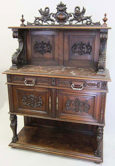 Antique Renaissance Style Buffet Cabinet Or Dessert With