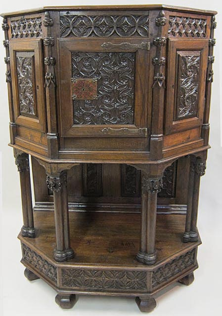 - Small Antique French Gothic Cabinet In Hexagonal Shape