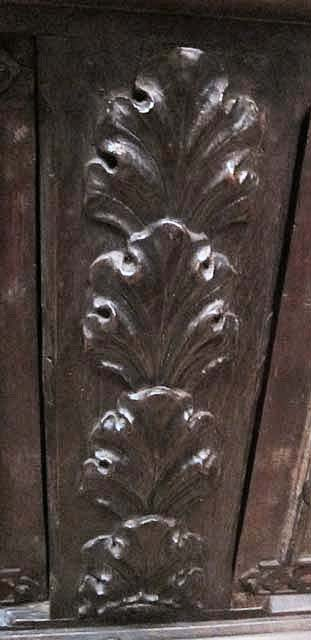 French antique gothic style cabinet with carved birds