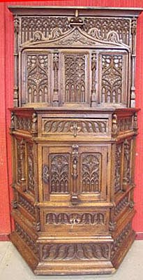 massive antique gothic cabinet french