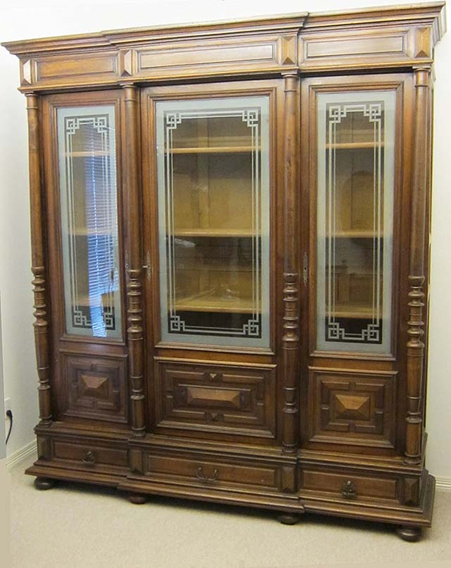 french antique cabinet with glass doors