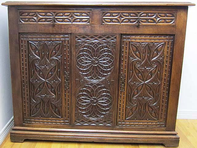gothic buffet cabinet with elaborate tracery