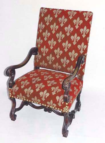 Merveilleux Louis XIV Antique Armchair With Fleur De Lys Upholstery