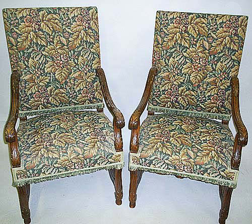 pair of antique french armchairs in louis xiv style