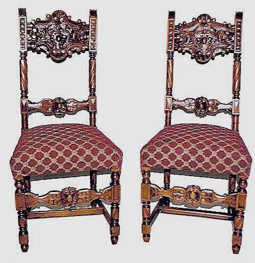Two Antique French Dining Chairs In Renaissance Revival Style By M. Markley  Antiques