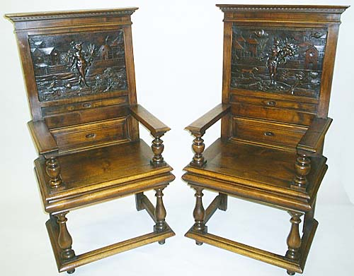 Pair Of Antique Chairs Mythology