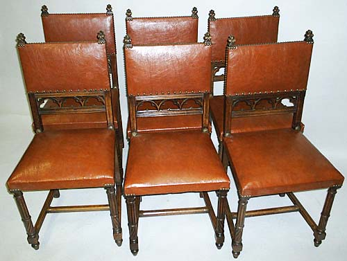 6 antique dining chairs in gothic style - Set Of 6 French Antique Dining Chairs
