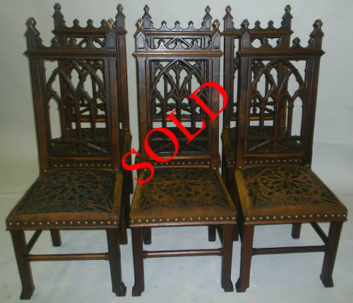 6 french antique gothic dining chairs leather sold - 19th Century French Antique Chairs By M. Markley Antiques