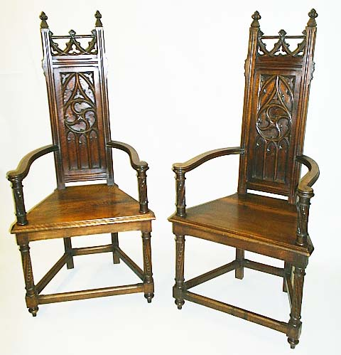 Pair Of French Antique Armchairs Or Caquetoires In Gothic Revival Style By  M. Markley Antiques