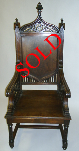 gothic high-backed armchair & Gothic Throne Chair by M. Markley Antiques