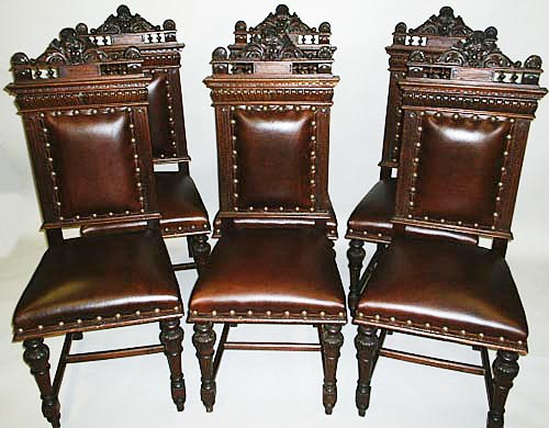 Beau 6 Antique Renaissance Revival Dining Chairs Leather