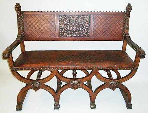 French antique bench with leather seat and back