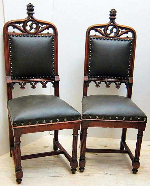 2 gothic revival dining chairs in leather & Pair of Antique French Dining Chairs in the Gothic Style by M ...