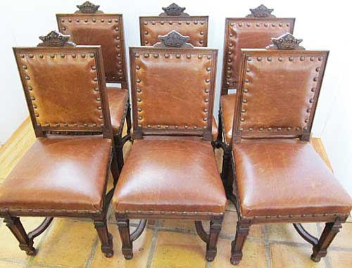 6 french antique leather dining chairs with crowns - 19th Century French Antique Chairs By M. Markley Antiques