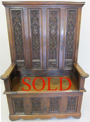 French Antique Gothic Style Bench