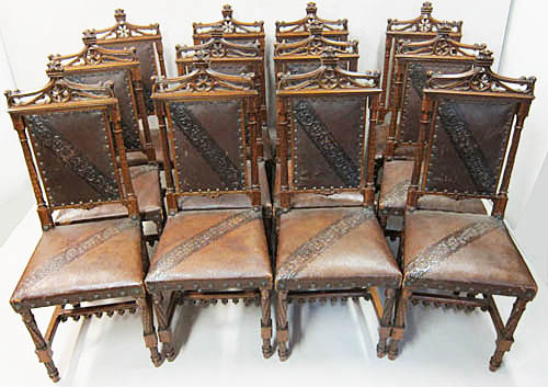 12 french antique gothic dining chairs in leather - 19th Century French Antique Chairs By M. Markley Antiques