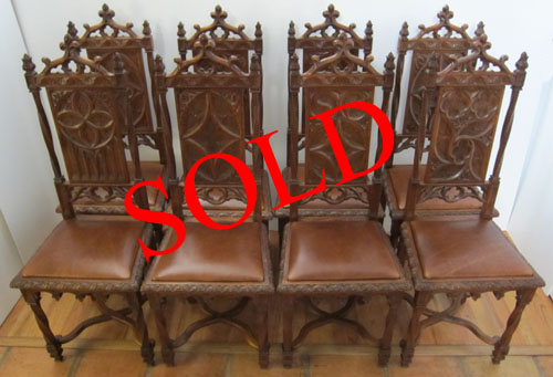 8 Gothic Dining Chairs with leather seat - 8 Gothic Dining Chairs, Antique Chairs - Item 5121 By M. Markley