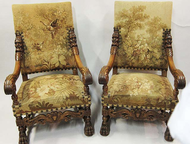 #5151-pair of Louis XIV Armchairs with Tapestry