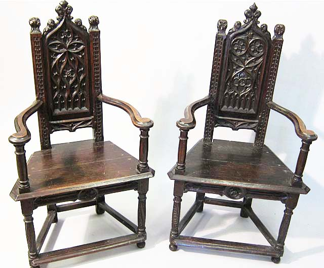 2 gothic armchairs or caquetoires