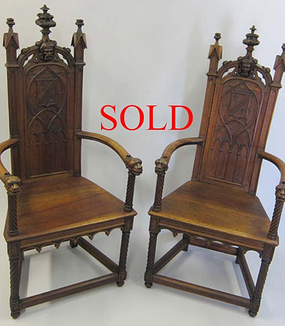antique caquetoire armchairs - Pair Of Gothic Armchairs (Caquetoires) -- Item 5188 By M. Markley