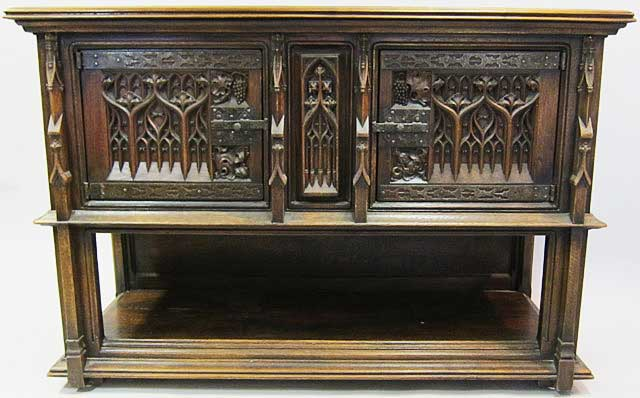 french antique cabinet with troubadour theme