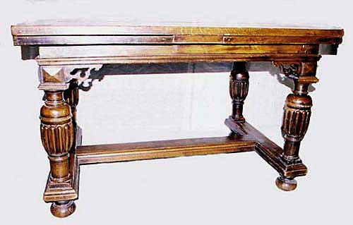 antique draw-leaf dining table