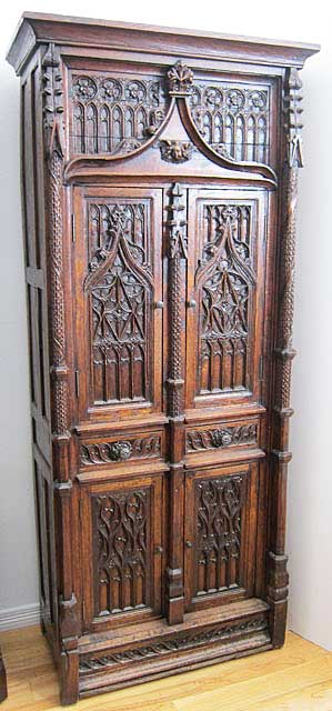antique cabinet or armoire in gothic style from France