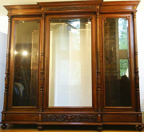 french antique illuminated library cabinet glass doors
