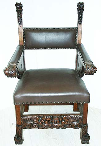 french renaissance throne chair with dolphins