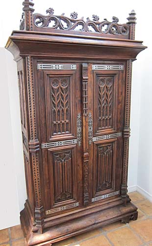 french antique chestnut armoire gothic revival