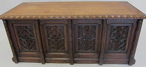 antique gothic revival chest in oak