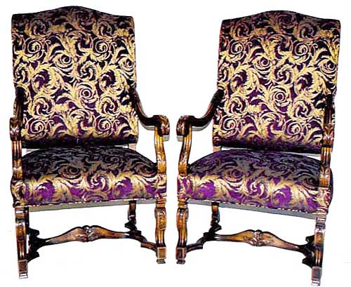 Pair of Louis XIV chairs upholstered in purple and gold