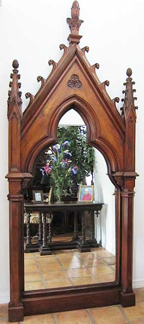 Massive French Antique Mirror In Gothic Revival Style