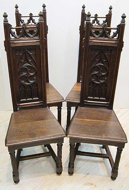 Antique French Gothic Dining Table and Chairs by M. Markley Antiques