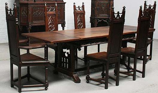 French Antique Gothic Dining Table And 6 Chairs