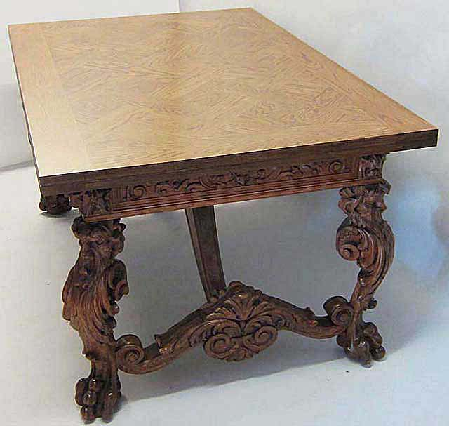 French Antique Dining Table In Fontainebleau Style Of Renaissance Revival  With Draw Leaf Extensions By M. Markley Antiques